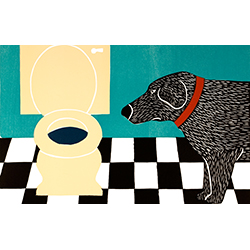 Water Bowl-Bad Dog - Medium Woodcut