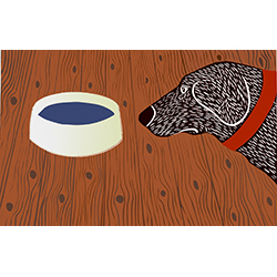 Water Bowl-Good Dog - Medium Woodcut