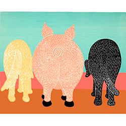 We Eat Like Pigs - Original Woodcut
