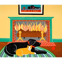 What a Ball-Orange Cat - Original Woodcut