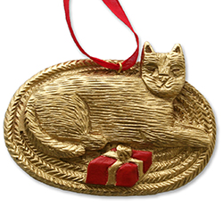Gold Cat - Hand-Painted Ornament